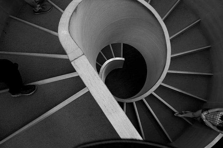 trapper, spiral, surround, trapp, arkitektur, spiraltrapp, Trinn