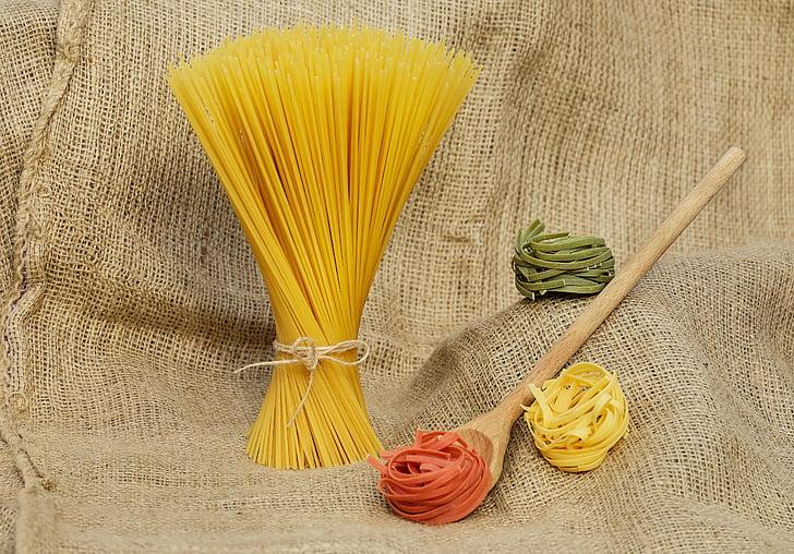 nūdeles, makaronu izstrādājumi, dzeltena, krāsains, neapstrādāta, pārtika, spageti