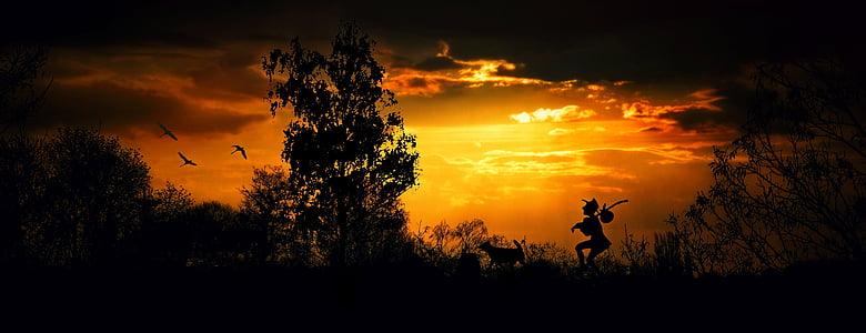 Wanderer, wandersmann, kaki, Hiking, senja, cahaya malam, pemandangan