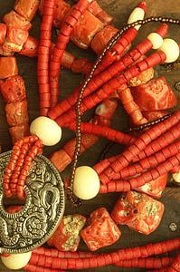 Coral, Collaret, joieria, vermell, collarets, joieria de moda, or