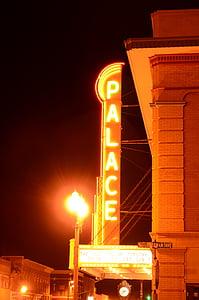 teātris, Neon, gaismas, naktī, ilgs iedarbības
