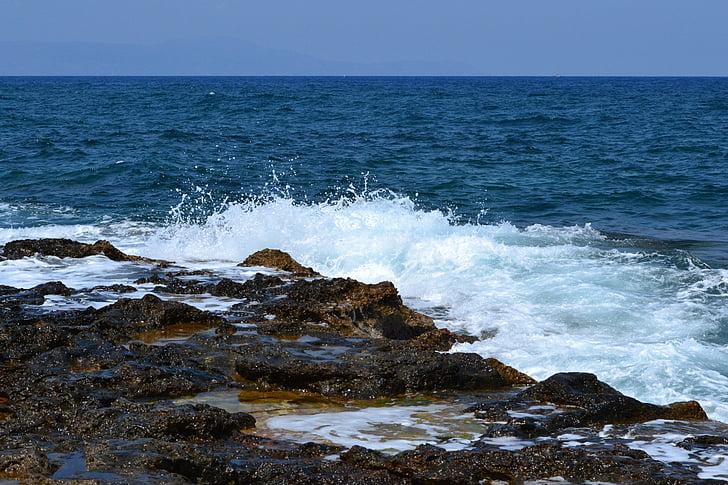 hullám, Beach, tenger, spray, kövek, dagály