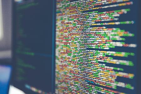 codi, tecnologia, Monitor, ordinador, lletres, pantalla, High tech