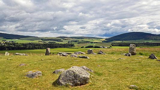 scotland, aberdeenshire, dee-tal, stone circle, old, historically, mystical