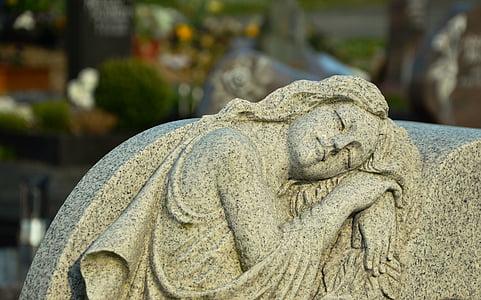 Cementerio, Ángel, tumba, estatua de, Figura, escultura, resto