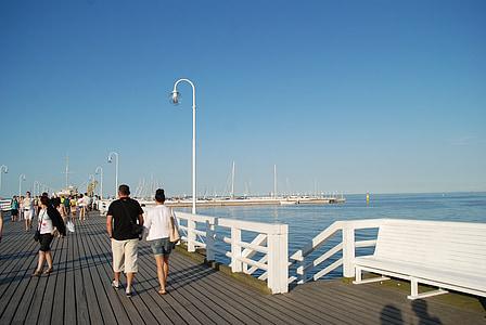piestātne, SOPOT, pludmale, Baltijas jūrā, jūra, skatu uz jūru, Baltijas jūras piekrastē