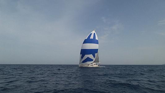 båt, segel, havet, Ocean, vatten, sommar, segelbåt