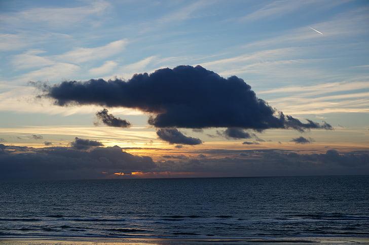 cloud, sunset, ocean, nature, evening, dramatic, sky