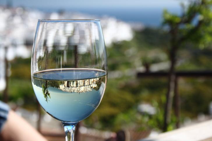 sredozemski, vino, zrcaljenje, sol, krajine, kozarci