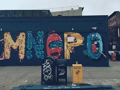 utca, Art, vandálbiztos, graffiti, festék, Street art, szemétkosárban