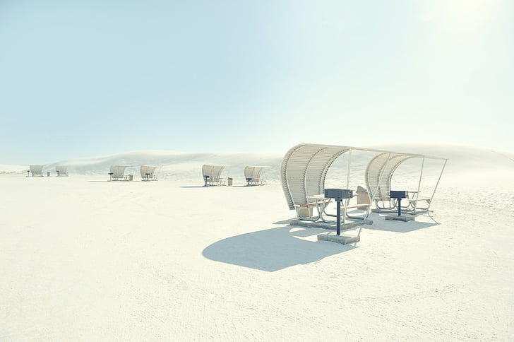 white, tables, blue, sky, daytime, nature, sand