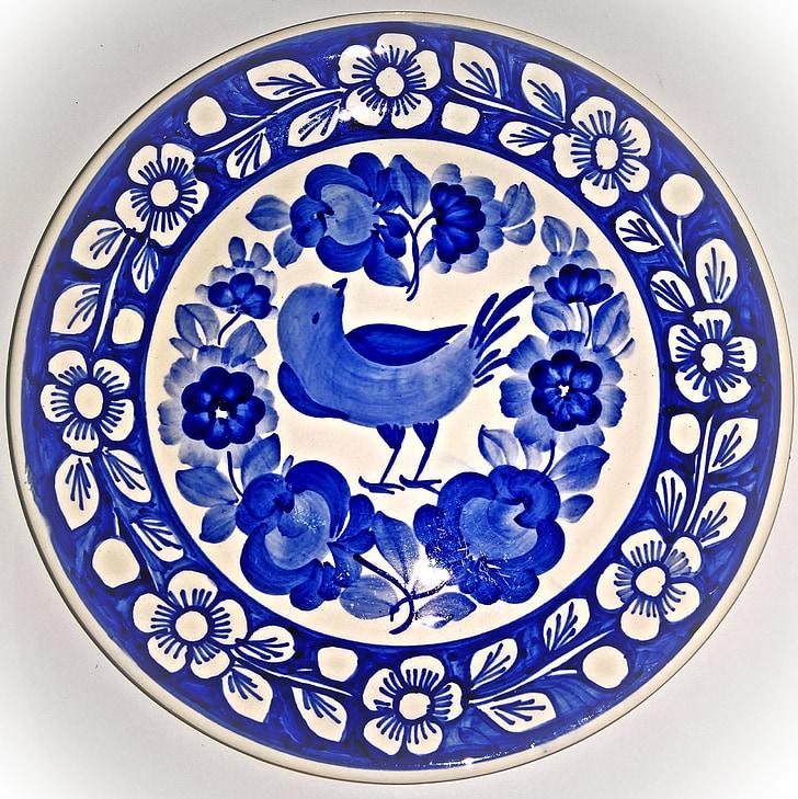 plat de porcellana, placa de la paret, estil de Delft, blanc blau, ocell, vinya de flor, cuina