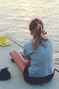 Дівчина, мода, жінка, стиль, води, море, Підлітковий