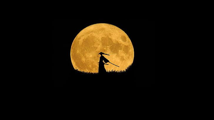 Samurajus, siluetas meno, vieniši kariai, mėnulis, šviesus mėnulis, kardas, Katana