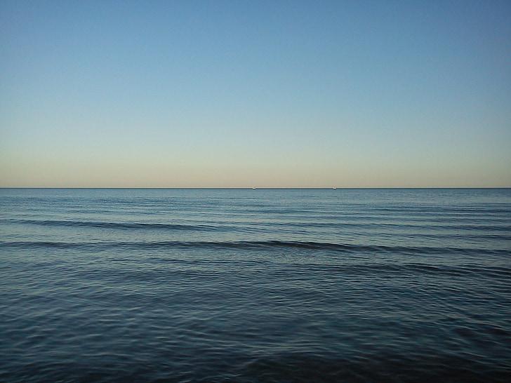 바다, 스카이, 수평선, 블루, 연 무, 잔잔한 바다, abendstimmung