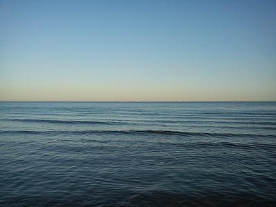 Mar, cel, horitzó, blau, boira, mar en calma, abendstimmung