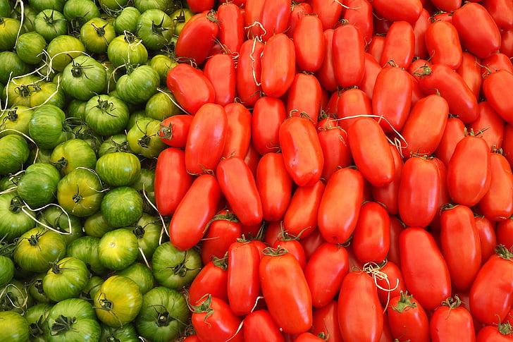 toidu, värske, tomatid, köögiviljad, toidu ja joogiga, punane, arvukus