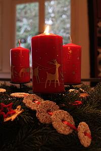 Advent pärg, küünal, punane, roheline, valgus, Advent, teenetemärgi