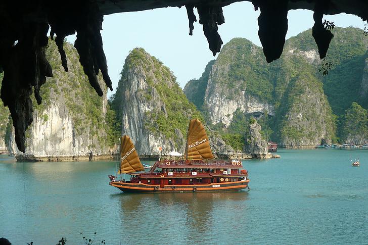 Badia de Halong, paisatge, Vietnam, vaixell, creuer, viatges, natura