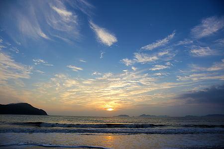 Ανατολή ηλίου, παραλία, το τοπίο, Sheung shui, σκηνή