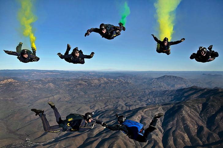 seikkailu, soihdut, muodostuminen, vuoret, ihmiset, taivas, skydivers