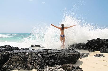 self-confidence, force, wave, sea, whirlpool, water, woman