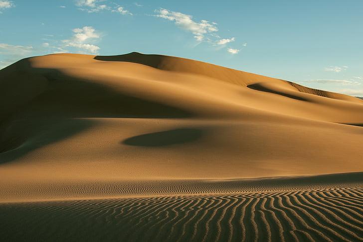 Gobi, puščava, vroče, pesek sipin, Mongolija, struktura, nebo