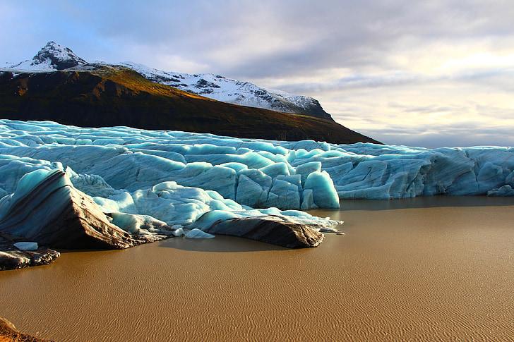 svinafellsjokull, İzlanda, buzdağı, Blue Ice, Lagoon, buzul, su