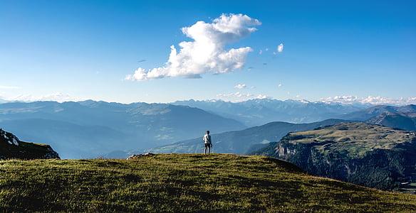 nature, landscape, mountains, sky, clouds, grass, cliff