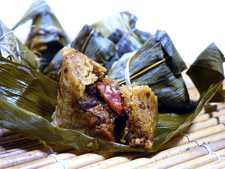 riža puding, 粽子, ljepljiv riža, tradicija, kineski, meso, kobasica