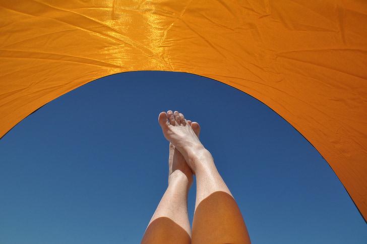 vakantie, zon, ontspannen, relaxen, zomer, hemel, parasol