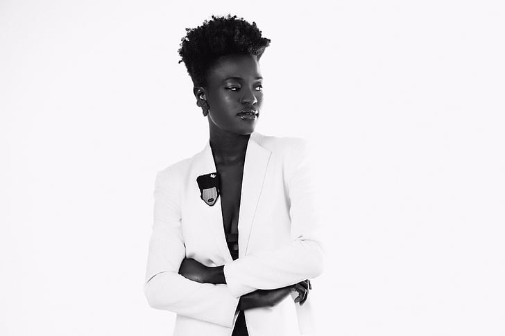 woman, wearing, suit, jacket, fashion, model, Black and white