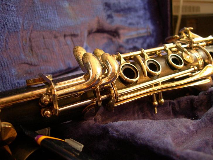 klarnetas, Auksas, rinkinys, muzika, kvėpavimas, priemonės