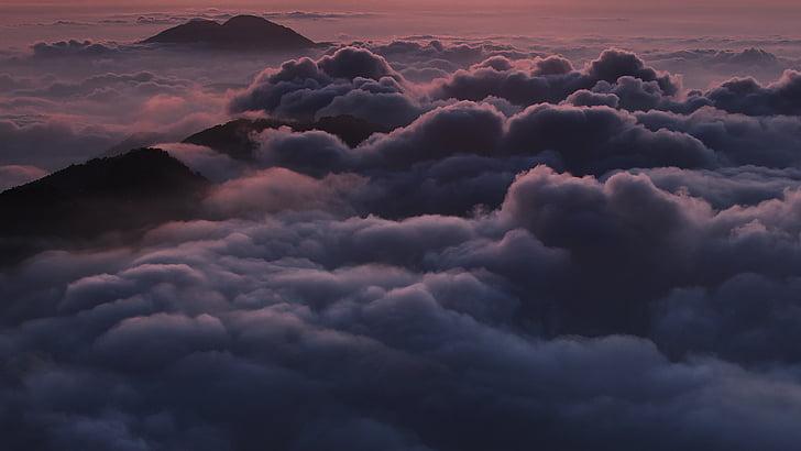 nuvens, pico de montanha, natureza, ao ar livre, cênica, mar de nuvens, montanha