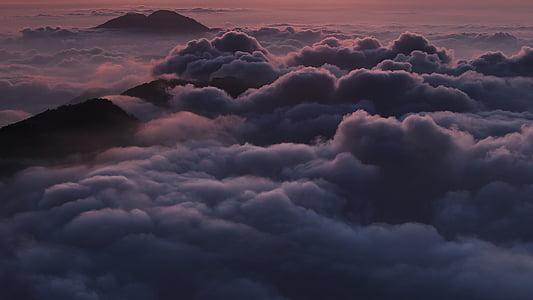 mraky, vrchol hory, Příroda, venku, malebný, moře mraků, Hora