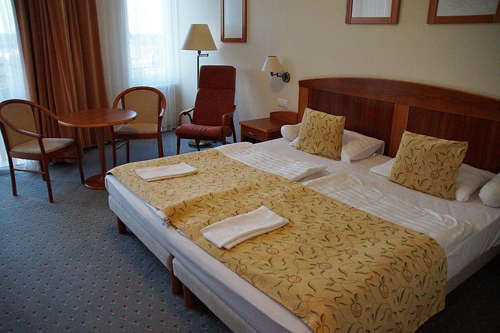 llit doble, Hotel, sala, llit, son