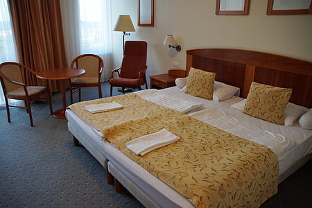 double bed, hotel, room, bed, sleep