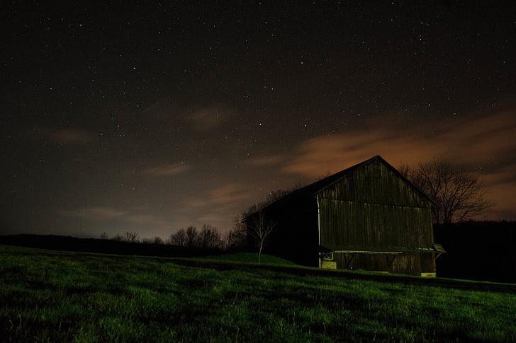 dark, night, sky, stars, barn, grass, fields