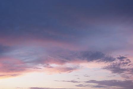 небо, хмари, вечірнє небо, післясвічення, Природа, Захід сонця