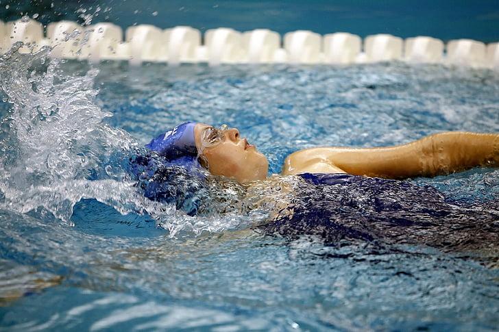 acció, actiu, l'activitat, noia, piscina, esquitxades, esport