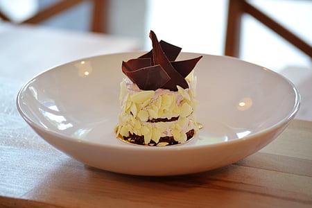 chocolate cake, black forest cake, cake slice, plated dessert, gourmet, chocolate, cake