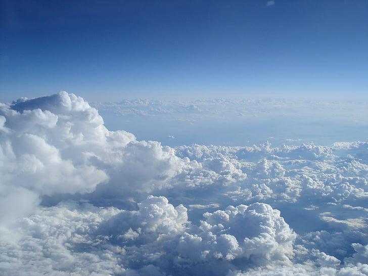 небе и облаци, океан от облаци, пейзаж, облаци небе, Летящи над облаците