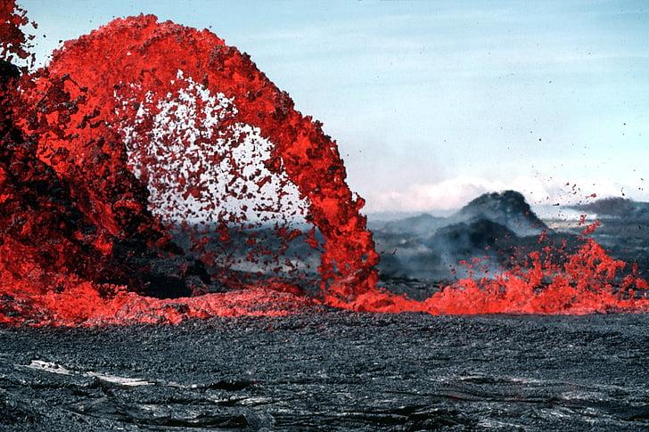 renta, magma, erupció volcànica, resplendor, calenta, Roca, pāhoehoe