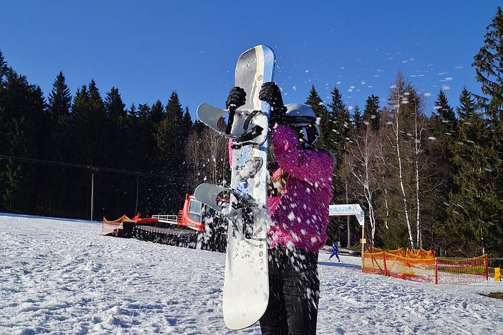 Snowballing, neu, l'hivern, muntanyes, plaer, joc, surf de neu