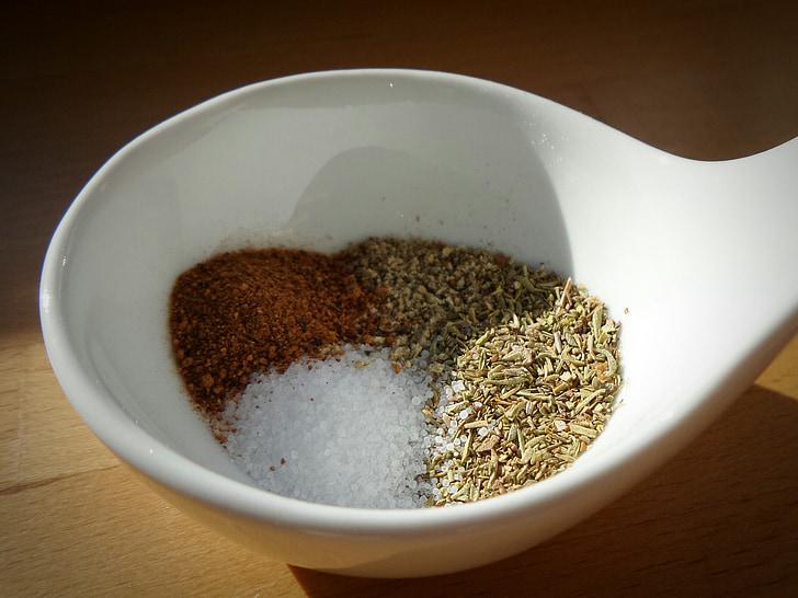 espècies, farigola, sal, pebre vermell, menjar, pebrot vermell, aliments