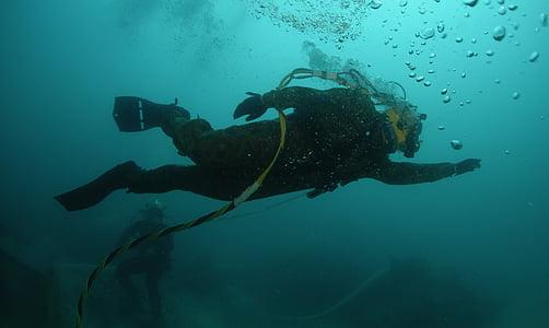 ronilac, tijekom, pod vodom, more, oceana, vode, mjehurići