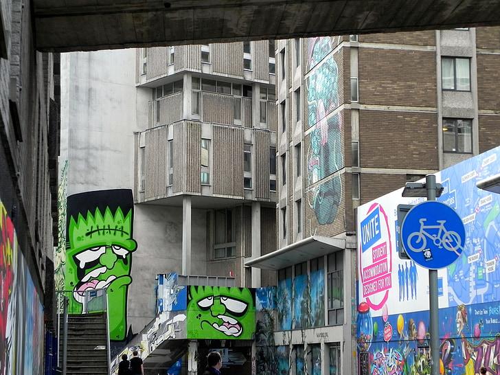 graffiti, Bristol, Anglia, Frankenstein, kreatív, művészi, grafika