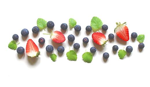 morangos, mirtilos, bagas, bálsamo, frutas, saudável, delicioso