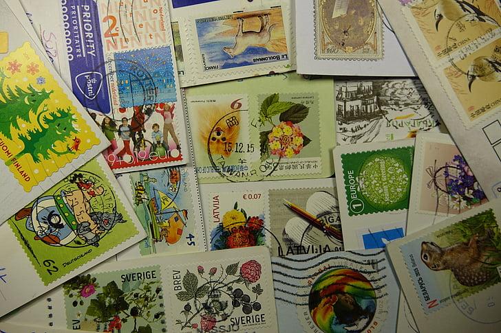 segells, recollir, estampada, deixar, postal, segell, valors de la marca