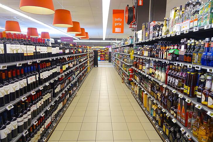 supermarket, Isle, tooted, erinevaid, toidupoed, kauplus, turu